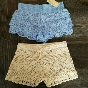 Pants - Crochet Shorts Bundle Festival Ruffle Stretch